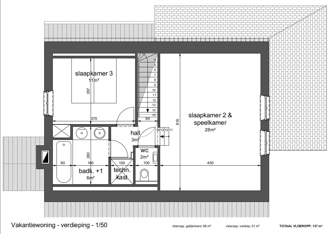 Grondplan bovenverdieping